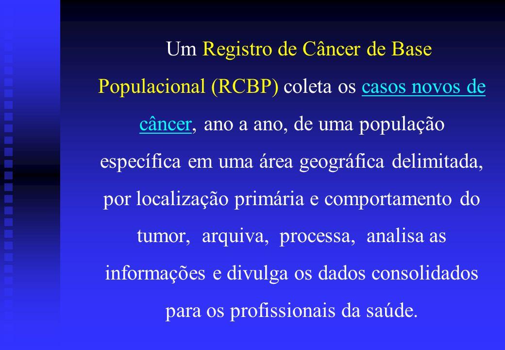 Um Registro de Câncer de Base Populacional (RCBP) coleta os casos novos de câncer, ano a ano, de uma população específica em uma área geográfica delim
