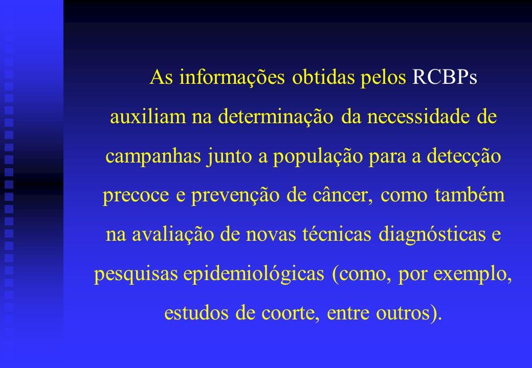 As informações obtidas pelos RCBPs auxiliam na determinação da necessidade de campanhas junto a população para a detecção precoce e prevenção de cânce