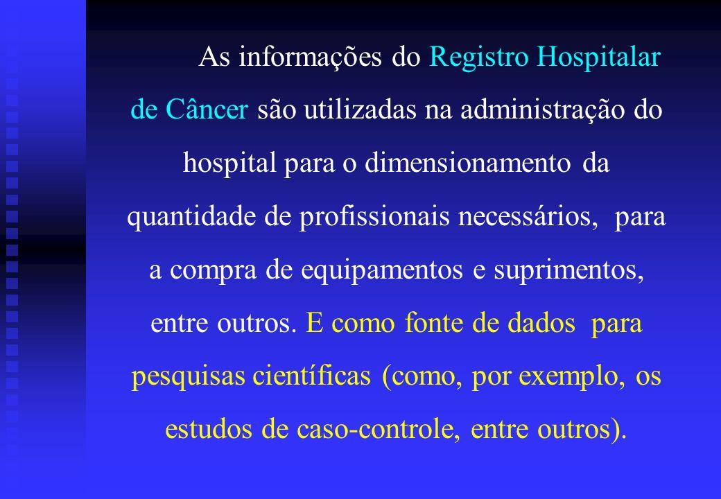 As informações do Registro Hospitalar de Câncer são utilizadas na administração do hospital para o dimensionamento da quantidade de profissionais nece