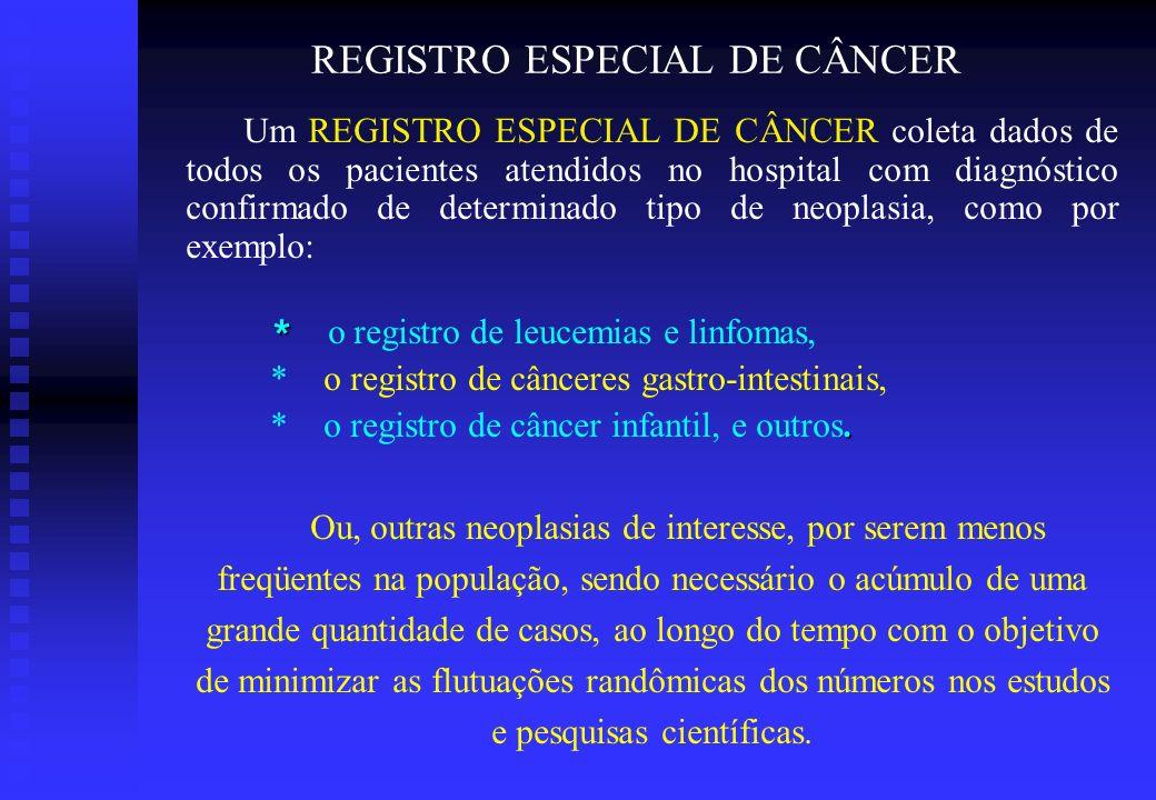 REGISTRO ESPECIAL DE CÂNCER Um REGISTRO ESPECIAL DE CÂNCER coleta dados de todos os pacientes atendidos no hospital com diagnóstico confirmado de dete