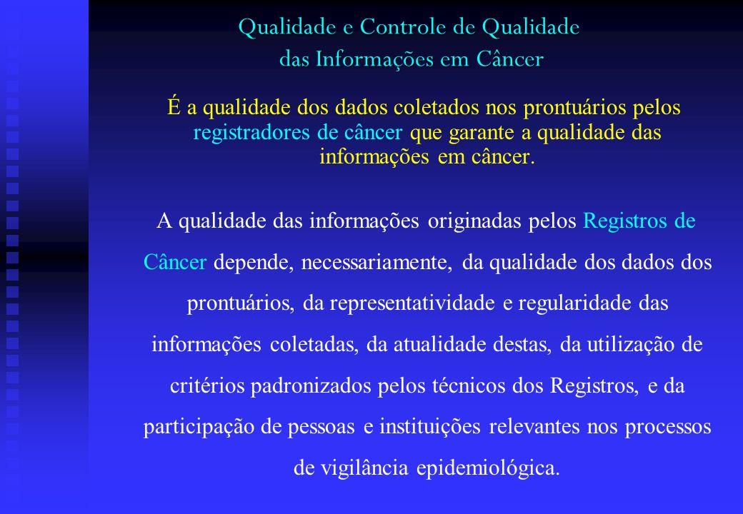 Qualidade e Controle de Qualidade das Informações em Câncer É a qualidade dos dados coletados nos prontuários pelos registradores de câncer que garant