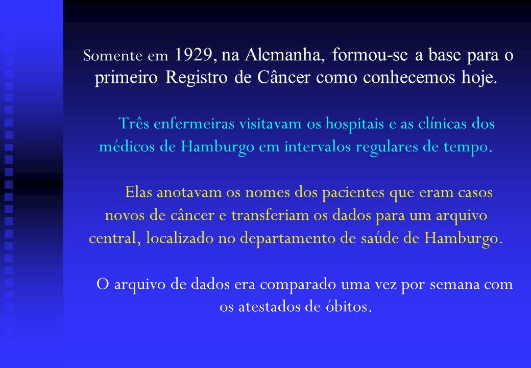 Somente em 1929, na Alemanha, formou-se a base para o primeiro Registro de Câncer como conhecemos hoje. Três enfermeiras visitavam os hospitais e as c