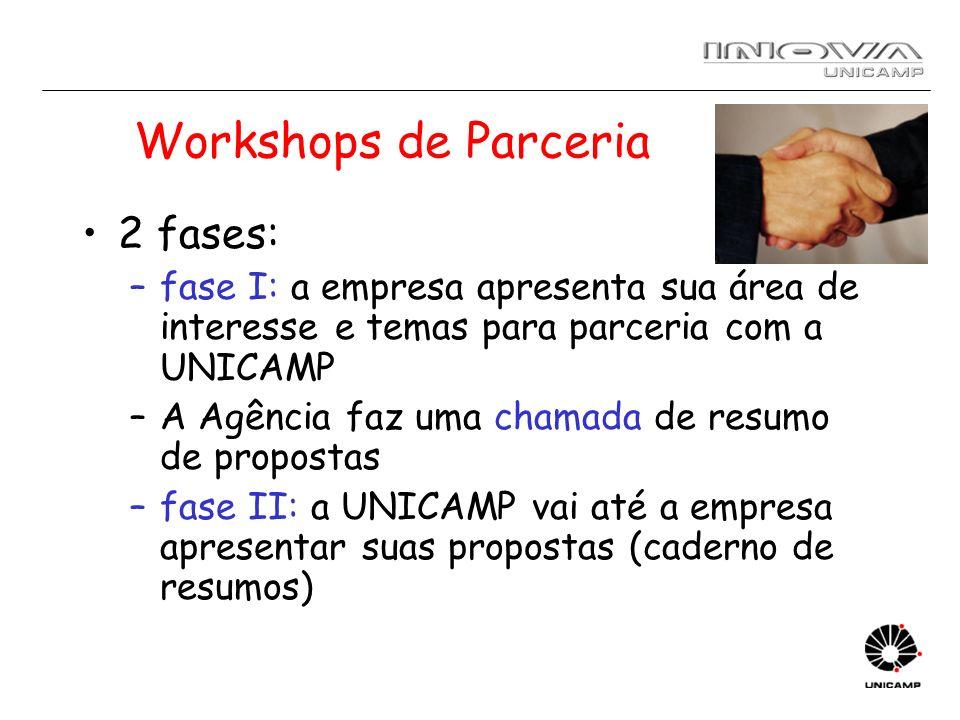 Workshops de Parceria 2 fases: –fase I: a empresa apresenta sua área de interesse e temas para parceria com a UNICAMP –A Agência faz uma chamada de re