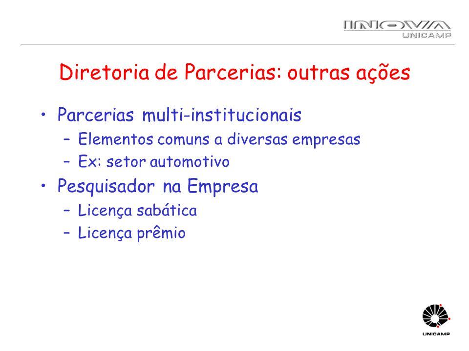 Diretoria de Parcerias: outras ações Parcerias multi-institucionais –Elementos comuns a diversas empresas –Ex: setor automotivo Pesquisador na Empresa