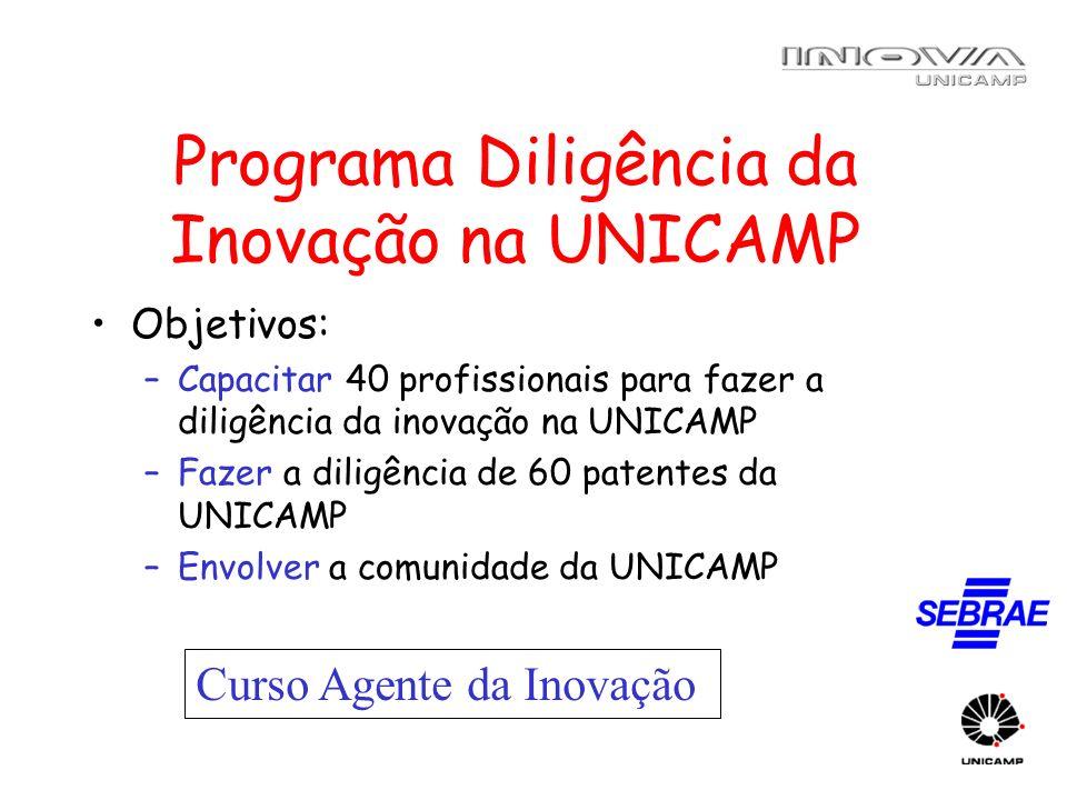 Programa Diligência da Inovação na UNICAMP Objetivos: –Capacitar 40 profissionais para fazer a diligência da inovação na UNICAMP –Fazer a diligência d