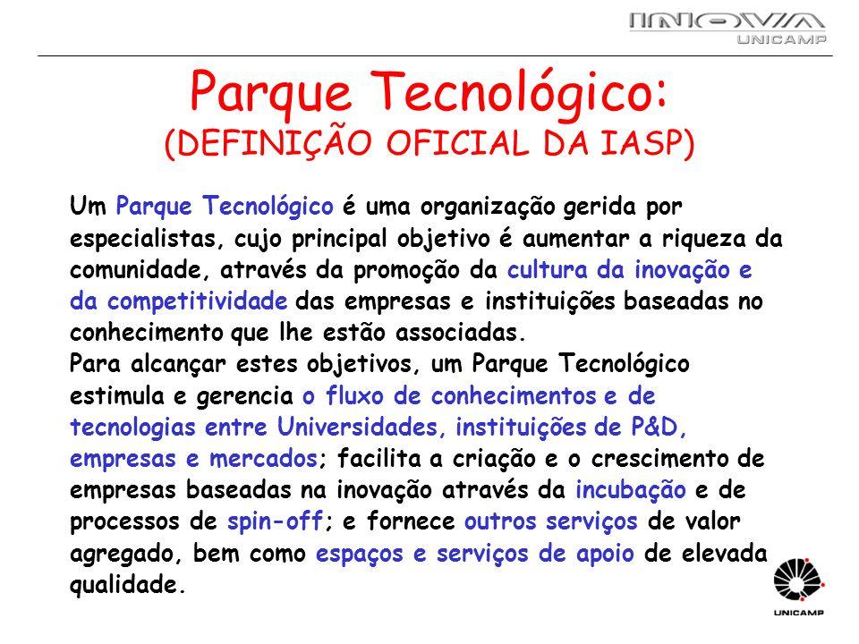 Parque Tecnológico: (DEFINIÇÃO OFICIAL DA IASP) Um Parque Tecnológico é uma organização gerida por especialistas, cujo principal objetivo é aumentar a