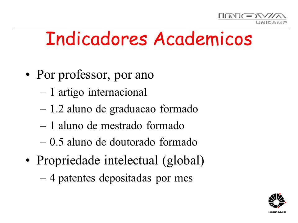 Indicadores Academicos Por professor, por ano –1 artigo internacional –1.2 aluno de graduacao formado –1 aluno de mestrado formado –0.5 aluno de douto