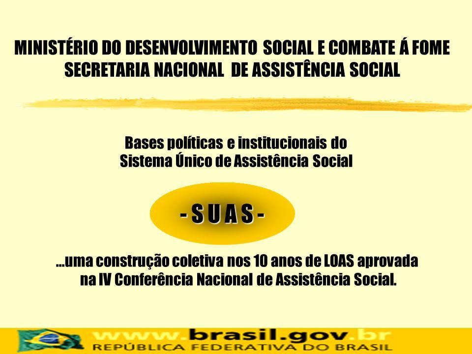 Bases políticas e institucionais do Sistema Único de Assistência Social MINISTÉRIO DO DESENVOLVIMENTO SOCIAL E COMBATE Á FOME SECRETARIA NACIONAL DE A