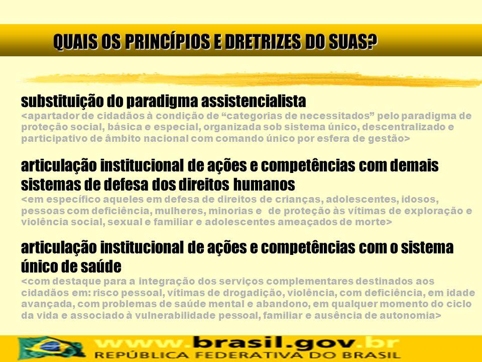 substituição do paradigma assistencialista articulação institucional de ações e competências com demais sistemas de defesa dos direitos humanos articu