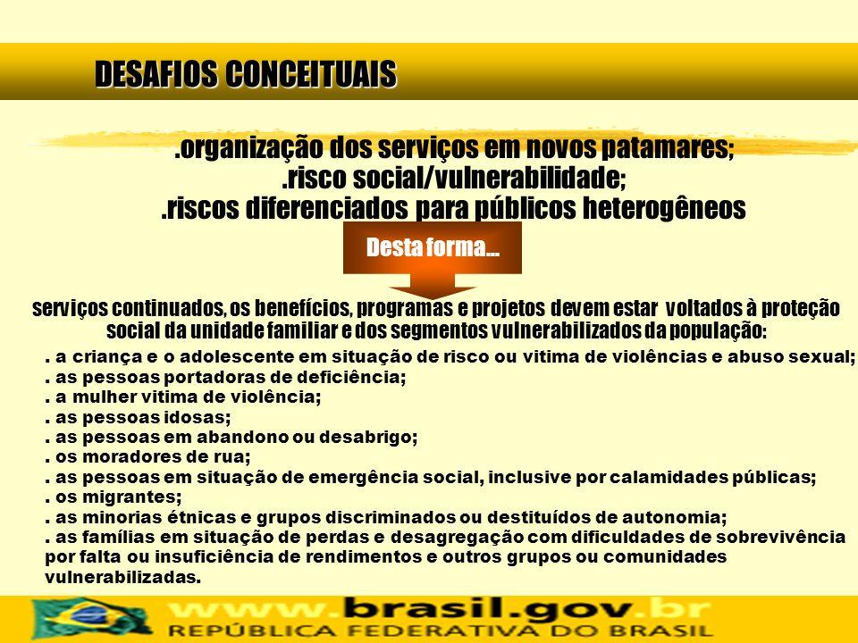 DESAFIOS CONCEITUAIS.organização dos serviços em novos patamares;.risco social/vulnerabilidade;.riscos diferenciados para públicos heterogêneos. a cri