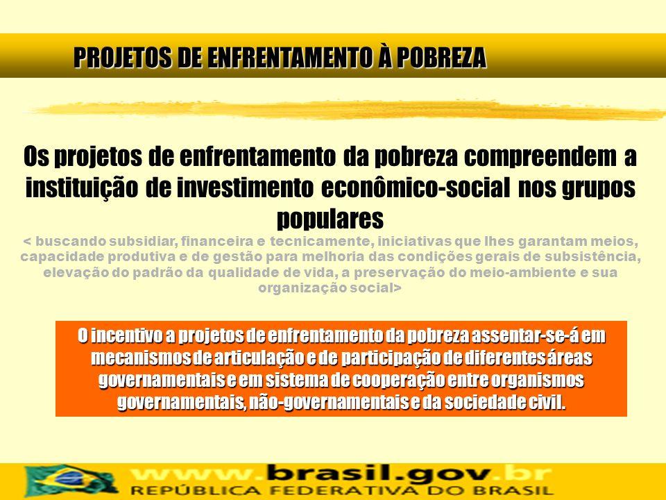 Os projetos de enfrentamento da pobreza compreendem a instituição de investimento econômico-social nos grupos populares PROJETOS DE ENFRENTAMENTO À PO