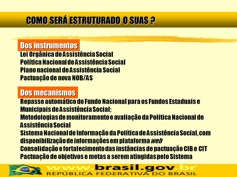 Repasse automático do Fundo Nacional para os Fundos Estaduais e Municipais de Assistência Social; Metodologias de monitoramento e avaliação da Polític