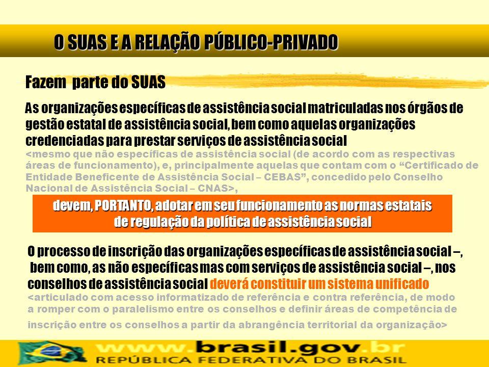 O SUAS E A RELAÇÃO PÚBLICO-PRIVADO Fazem parte do SUAS As organizações específicas de assistência social matriculadas nos órgãos de gestão estatal de