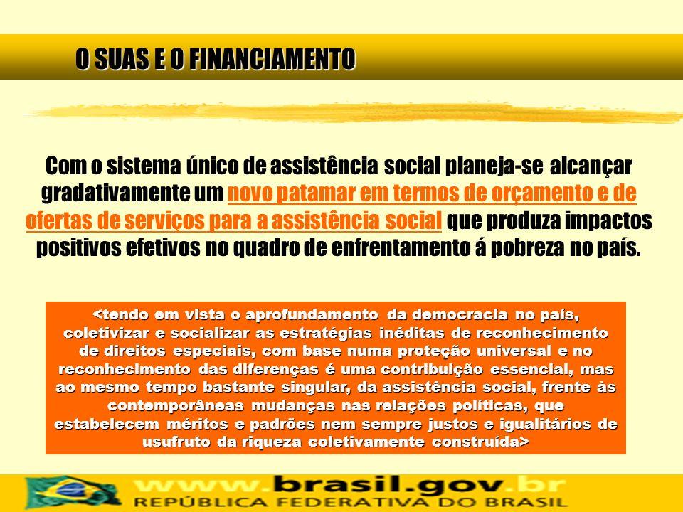 O SUAS E O FINANCIAMENTO Com o sistema único de assistência social planeja-se alcançar gradativamente um novo patamar em termos de orçamento e de ofer