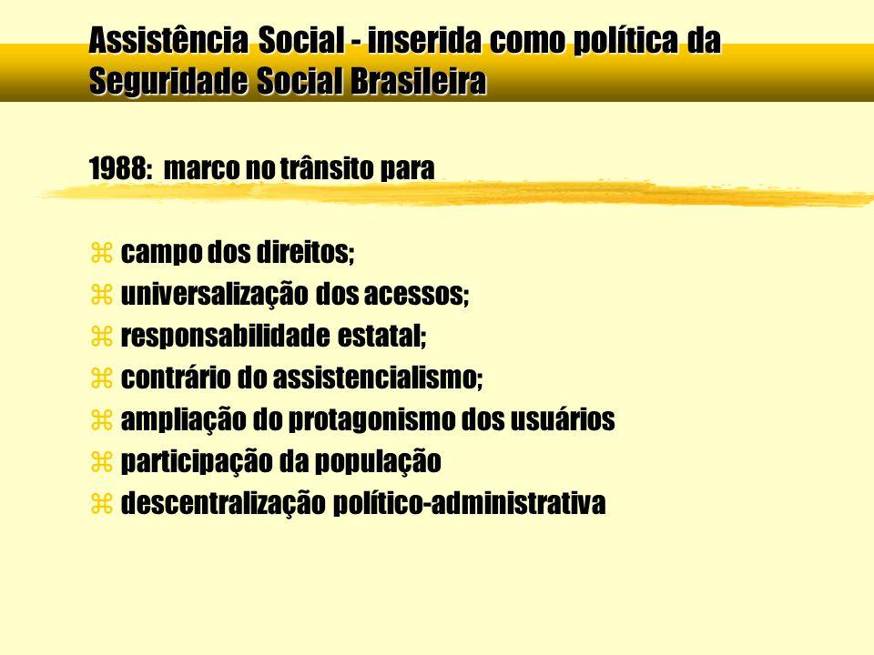 1988: marco no trânsito para z campo dos direitos; z universalização dos acessos; z responsabilidade estatal; z contrário do assistencialismo; z ampli