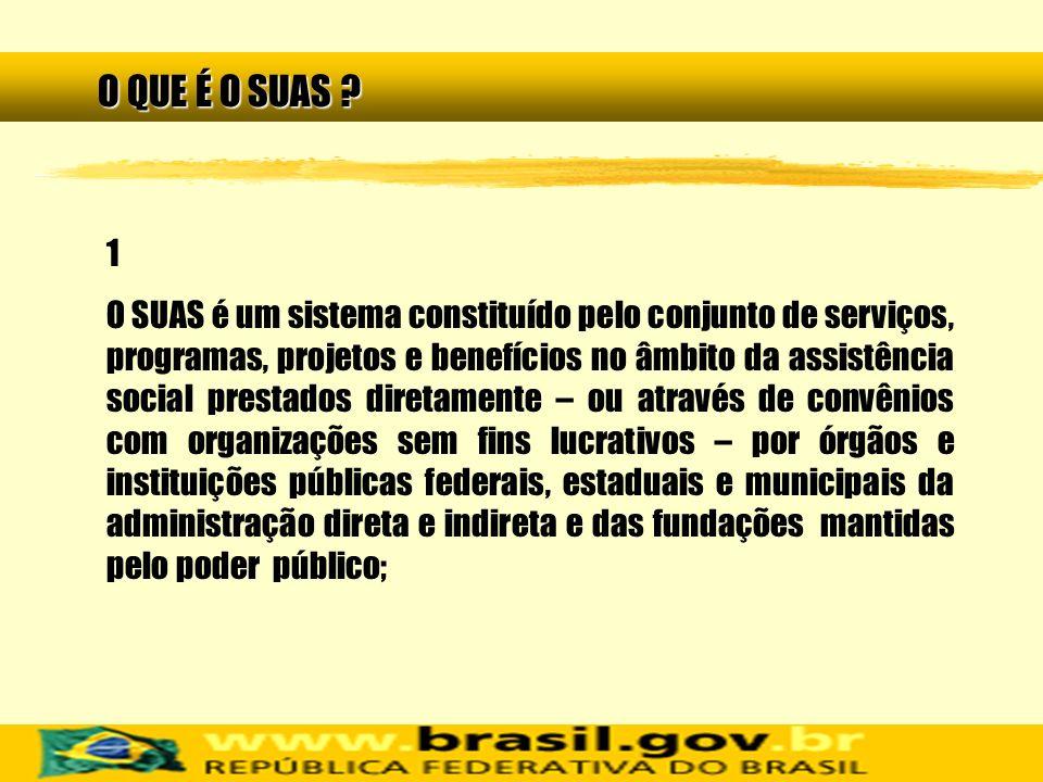 1 O SUAS é um sistema constituído pelo conjunto de serviços, programas, projetos e benefícios no âmbito da assistência social prestados diretamente –