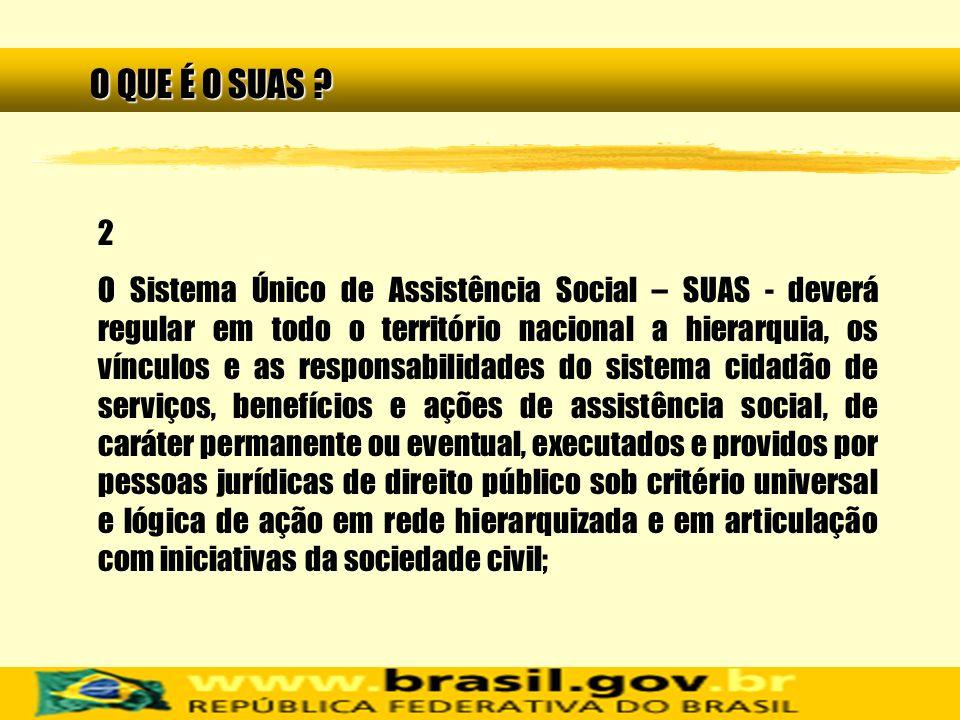 2 O Sistema Único de Assistência Social – SUAS - deverá regular em todo o território nacional a hierarquia, os vínculos e as responsabilidades do sist