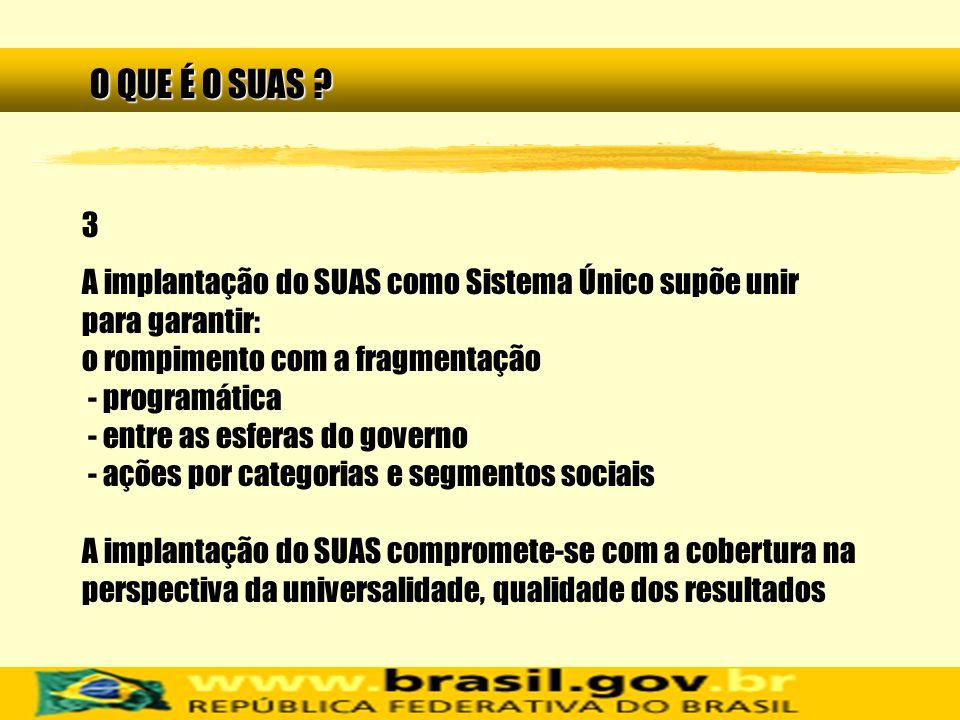 3 A implantação do SUAS como Sistema Único supõe unir para garantir: o rompimento com a fragmentação - programática - entre as esferas do governo - aç