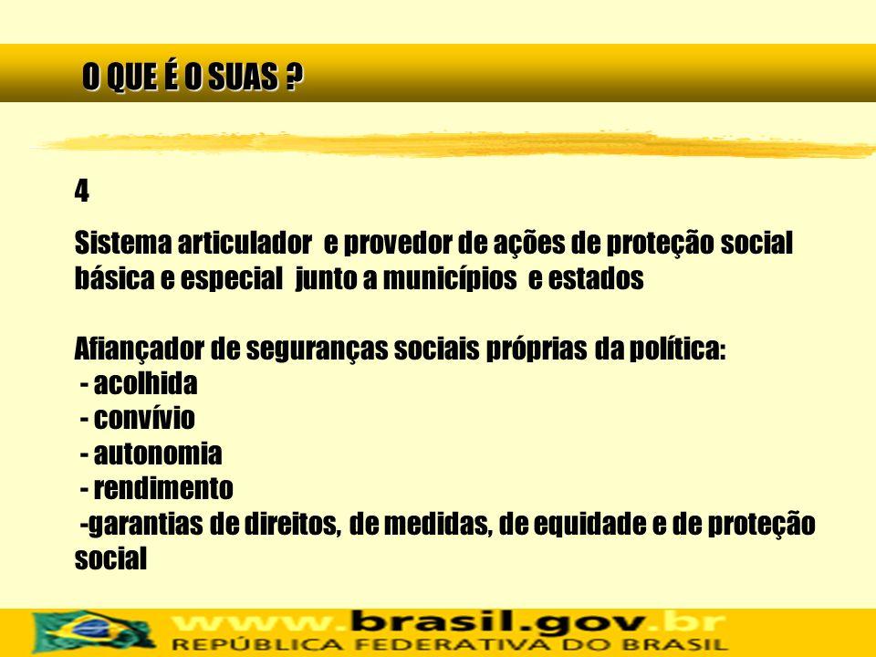 4 Sistema articulador e provedor de ações de proteção social básica e especial junto a municípios e estados Afiançador de seguranças sociais próprias