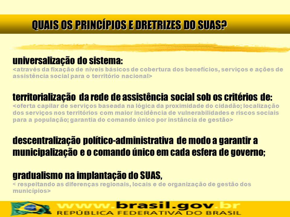 universalização do sistema: territorialização da rede de assistência social sob os critérios de: descentralização político-administrativa de modo a ga