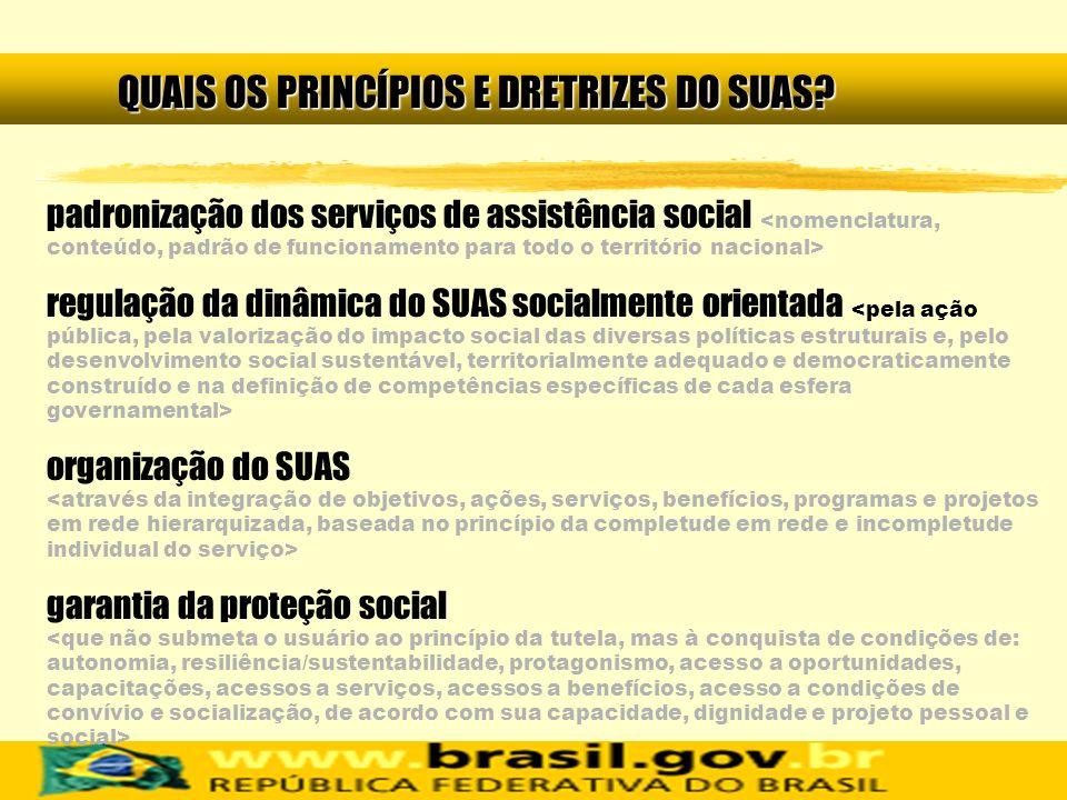 padronização dos serviços de assistência social regulação da dinâmica do SUAS socialmente orientada organização do SUAS garantia da proteção social QU