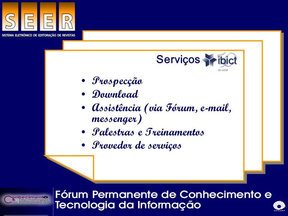 Serviços do ibict Prospecção Download Assistência (via Fórum, e-mail, messenger) Palestras e Treinamentos Provedor de serviços
