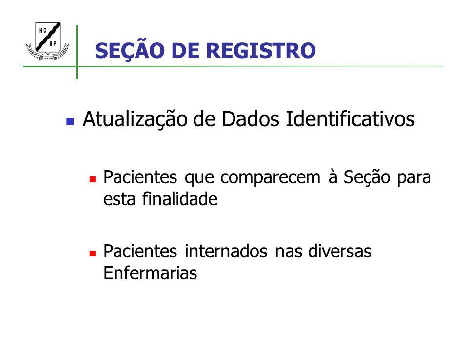 SEÇÃO DE REGISTRO Atualização de Dados Identificativos Pacientes que comparecem à Seção para esta finalidade Pacientes internados nas diversas Enferma