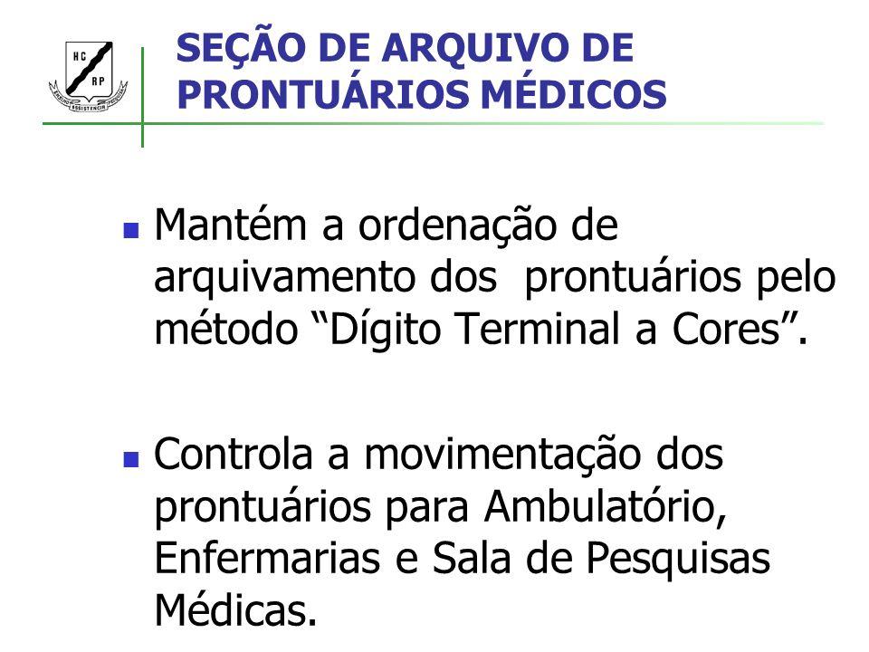 SEÇÃO DE ARQUIVO DE PRONTUÁRIOS MÉDICOS Mantém a ordenação de arquivamento dos prontuários pelo método Dígito Terminal a Cores. Controla a movimentaçã