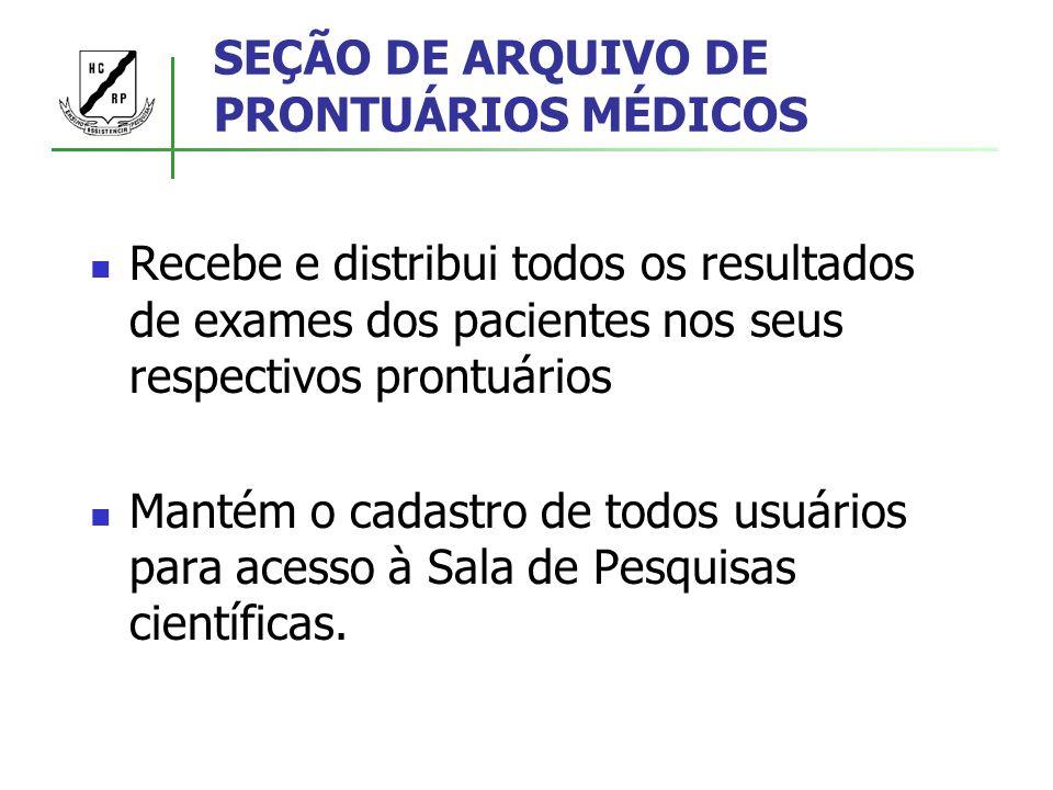 SEÇÃO DE ARQUIVO DE PRONTUÁRIOS MÉDICOS Recebe e distribui todos os resultados de exames dos pacientes nos seus respectivos prontuários Mantém o cadas