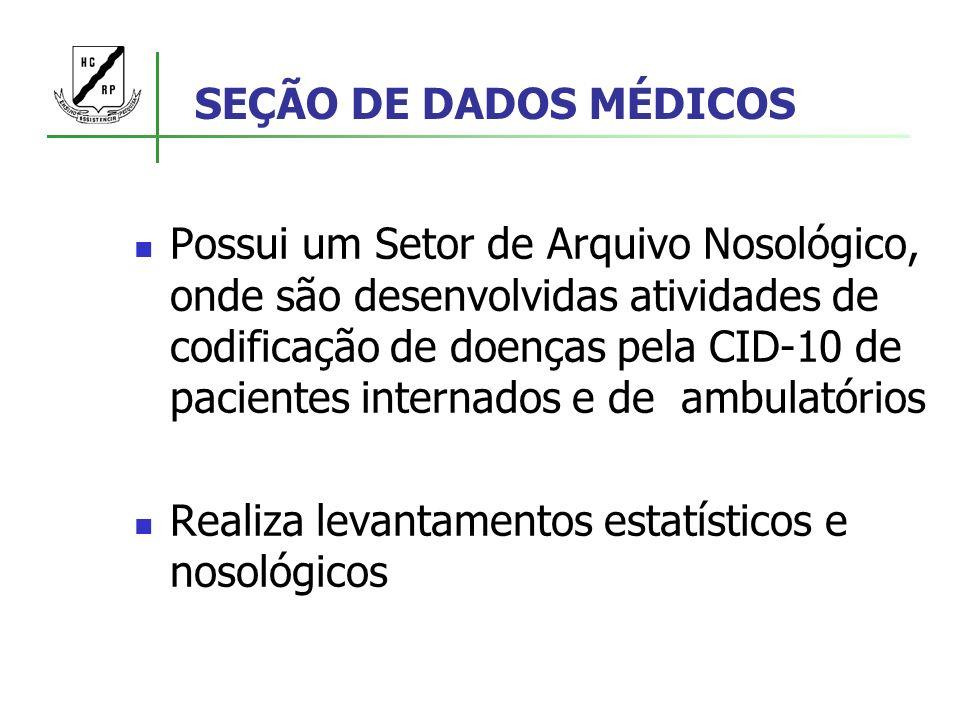 SEÇÃO DE DADOS MÉDICOS Possui um Setor de Arquivo Nosológico, onde são desenvolvidas atividades de codificação de doenças pela CID-10 de pacientes int