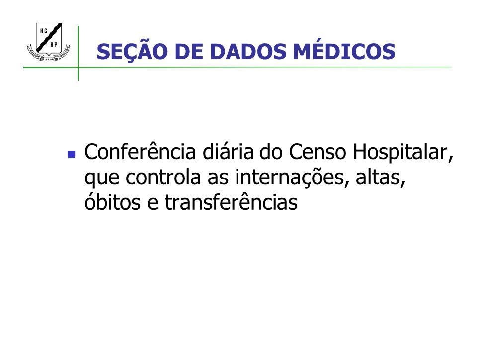SEÇÃO DE DADOS MÉDICOS Conferência diária do Censo Hospitalar, que controla as internações, altas, óbitos e transferências