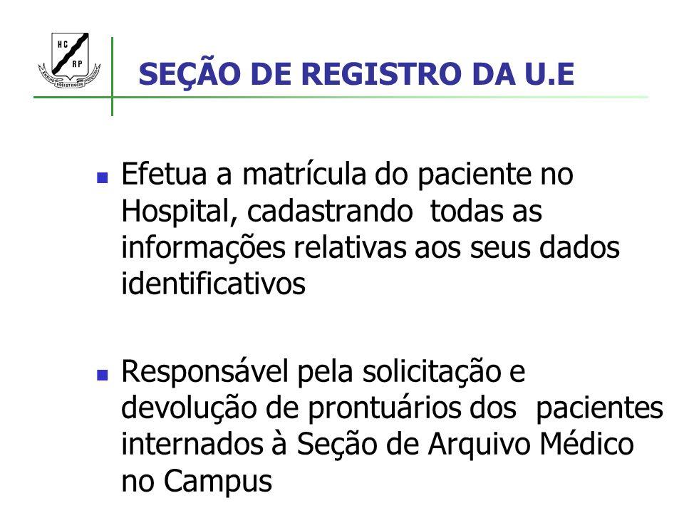 SEÇÃO DE REGISTRO DA U.E Efetua a matrícula do paciente no Hospital, cadastrando todas as informações relativas aos seus dados identificativos Respons