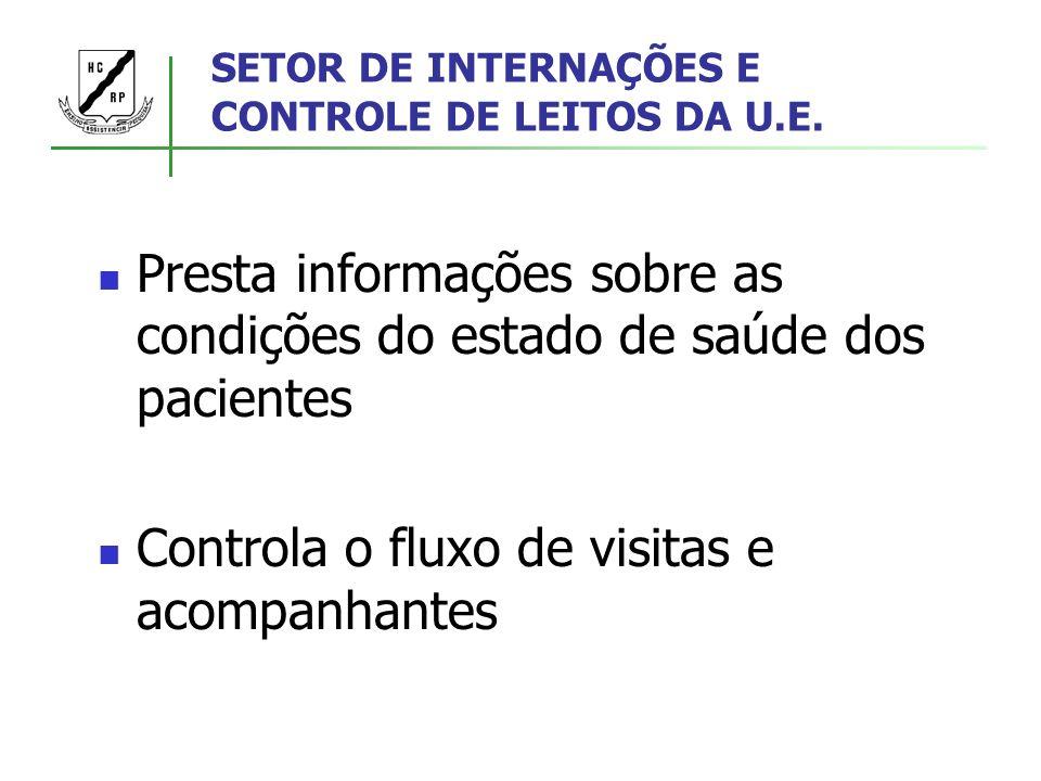 SETOR DE INTERNAÇÕES E CONTROLE DE LEITOS DA U.E. Presta informações sobre as condições do estado de saúde dos pacientes Controla o fluxo de visitas e