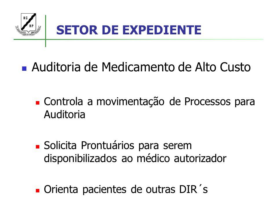 SETOR DE EXPEDIENTE Auditoria de Medicamento de Alto Custo Controla a movimentação de Processos para Auditoria Solicita Prontuários para serem disponi
