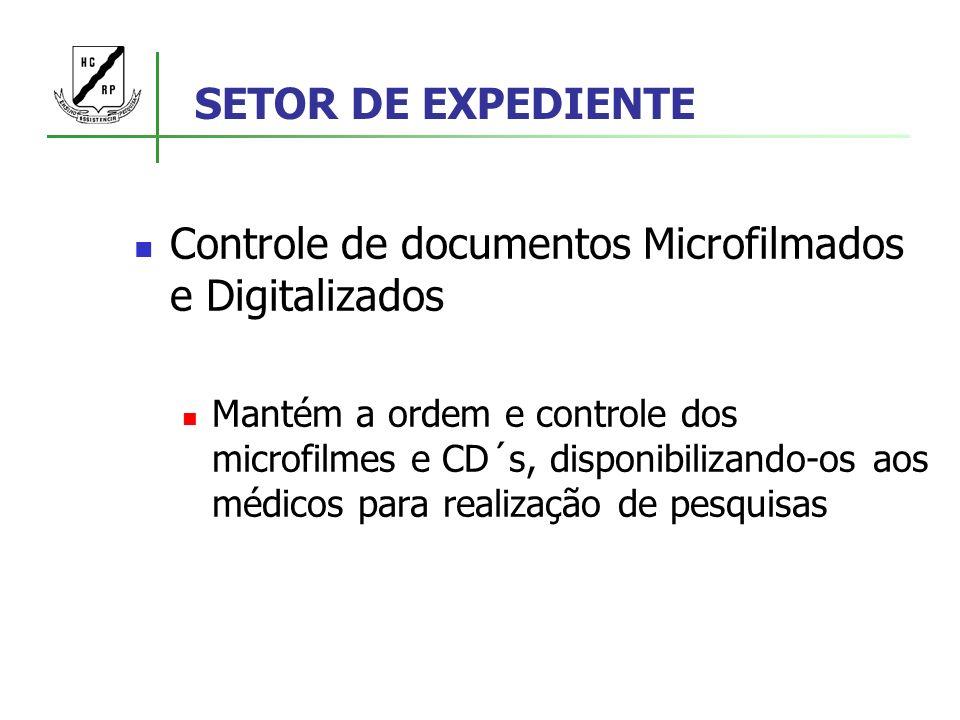 SETOR DE EXPEDIENTE Controle de documentos Microfilmados e Digitalizados Mantém a ordem e controle dos microfilmes e CD´s, disponibilizando-os aos méd