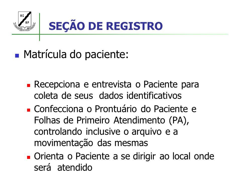 SEÇÃO DE REGISTRO Matrícula do paciente: Recepciona e entrevista o Paciente para coleta de seus dados identificativos Confecciona o Prontuário do Paci