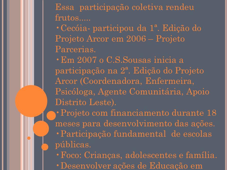 Essa participação coletiva rendeu frutos..... Cecóia- participou da 1ª. Edição do Projeto Arcor em 2006 – Projeto Parcerias. Em 2007 o C.S.Sousas inic