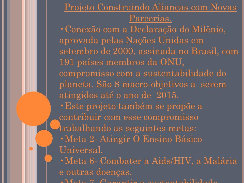 Projeto Construindo Alianças com Novas Parcerias. Conexão com a Declaração do Milênio, aprovada pelas Nações Unidas em setembro de 2000, assinada no B