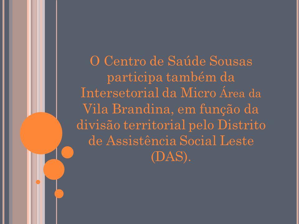 O Centro de Saúde Sousas participa também da Intersetorial da Micro Área da Vila Brandina, em função da divisão territorial pelo Distrito de Assistência Social Leste (DAS).