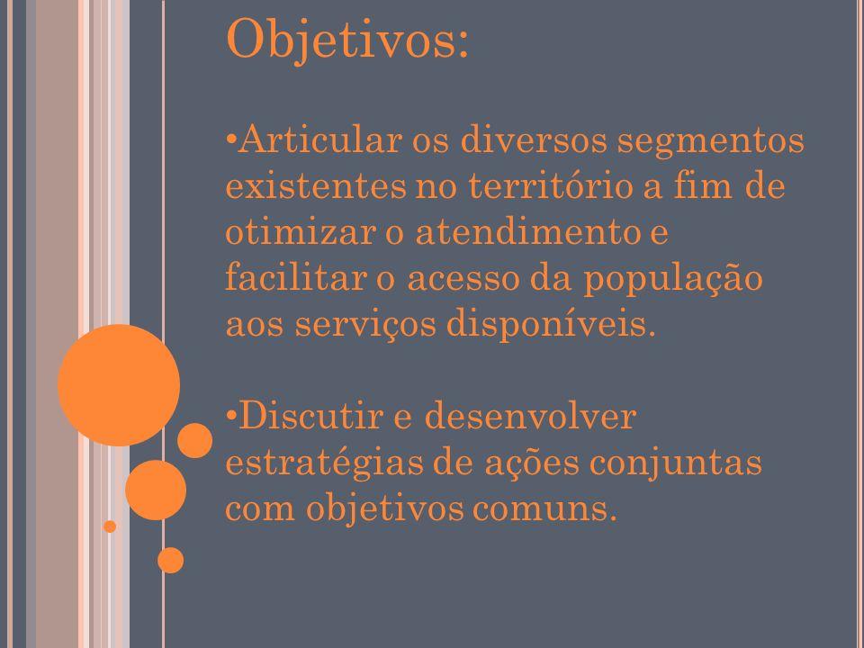Objetivos: Articular os diversos segmentos existentes no território a fim de otimizar o atendimento e facilitar o acesso da população aos serviços disponíveis.