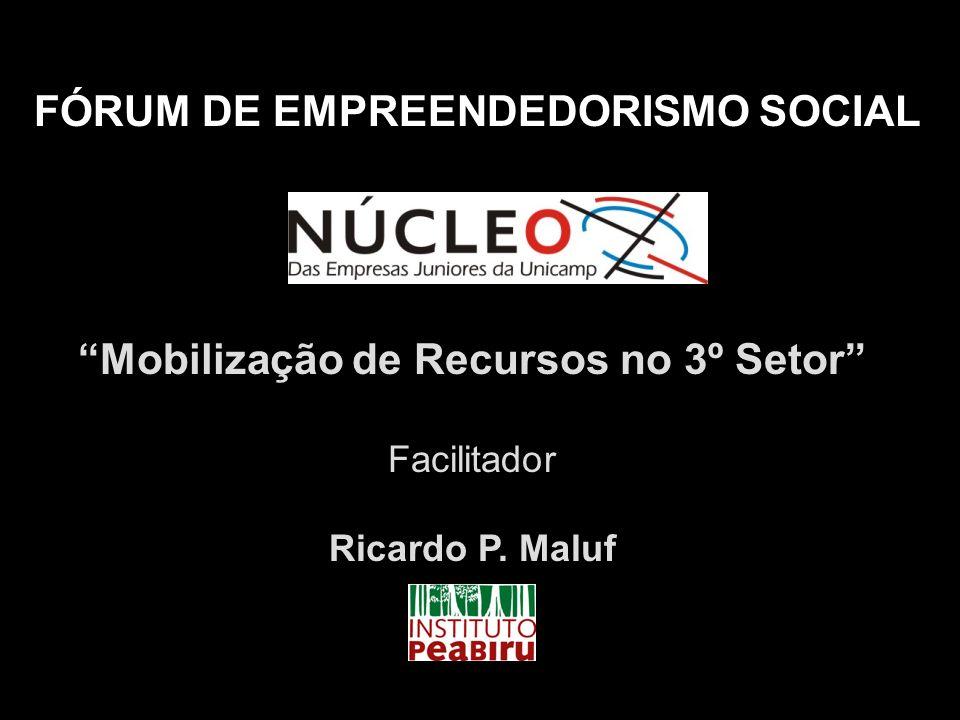 Mobilização de Recursos no 3º Setor Facilitador Ricardo P. Maluf FÓRUM DE EMPREENDEDORISMO SOCIAL
