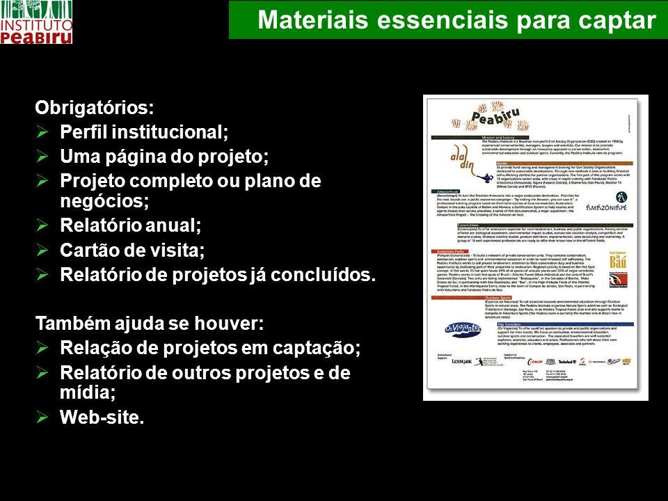 Materiais essenciais para captar Obrigatórios: Perfil institucional; Uma página do projeto; Projeto completo ou plano de negócios; Relatório anual; Ca