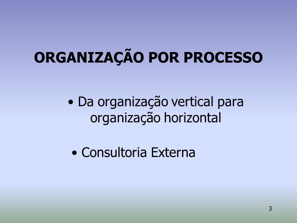 3 ORGANIZAÇÃO POR PROCESSO Da organização vertical para organização horizontal Consultoria Externa