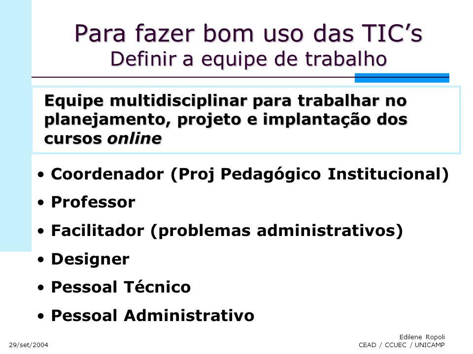 29/set/2004 Edilene Ropoli CEAD / CCUEC / UNICAMP Para fazer bom uso das TICs Definir a equipe de trabalho Coordenador (Proj Pedagógico Institucional)
