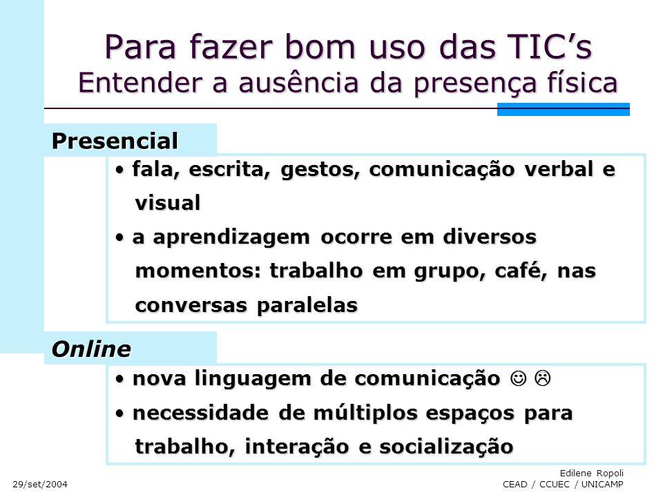 29/set/2004 Edilene Ropoli CEAD / CCUEC / UNICAMP Para fazer bom uso das TICs Entender a ausência da presença física fala, escrita, gestos, comunicaçã