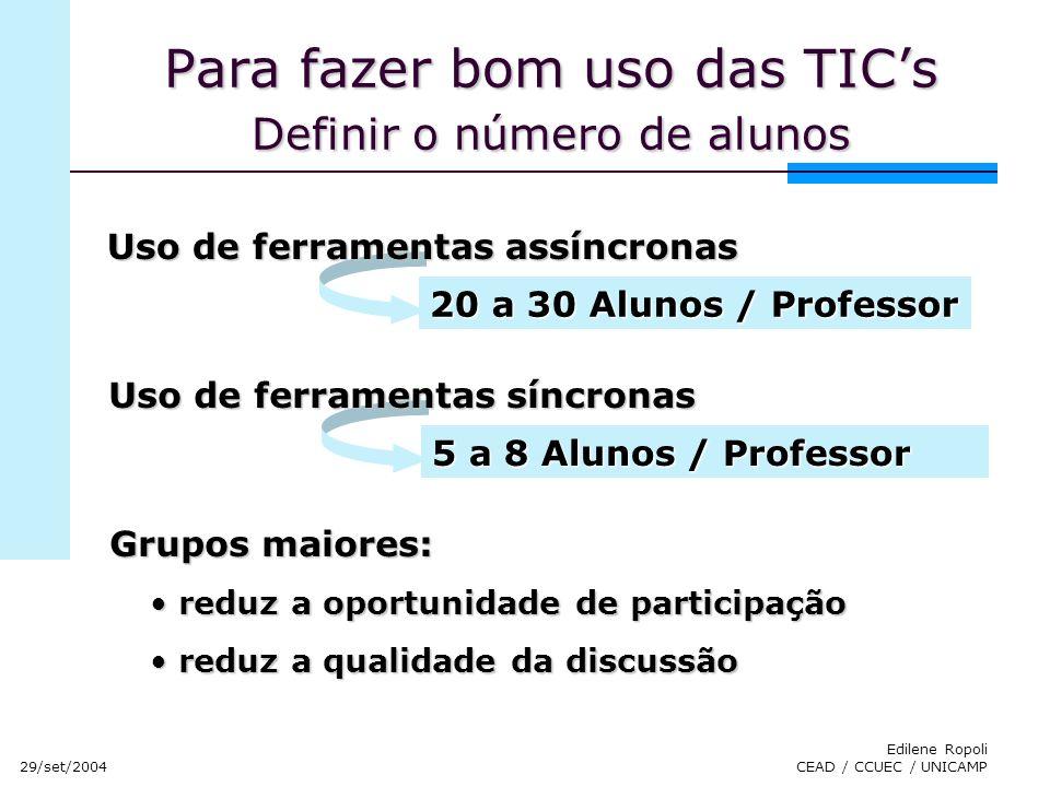 29/set/2004 Edilene Ropoli CEAD / CCUEC / UNICAMP Para fazer bom uso das TICs Definir o número de alunos Uso de ferramentas assíncronas 20 a 30 Alunos