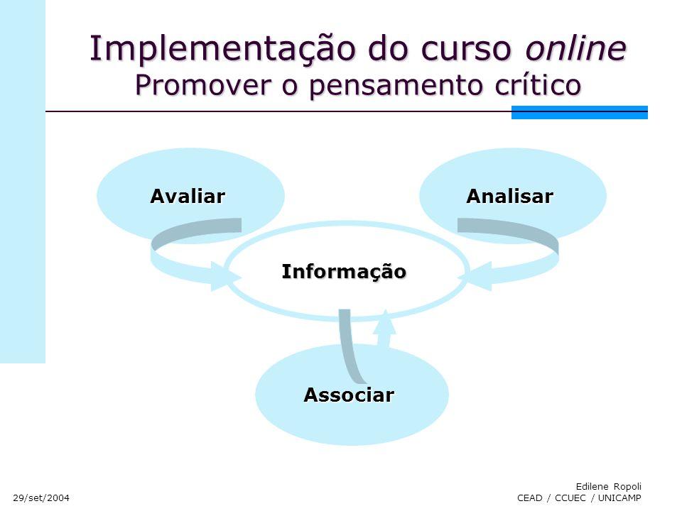 29/set/2004 Edilene Ropoli CEAD / CCUEC / UNICAMP Implementação do curso online Promover o pensamento crítico AvaliarAnalisarAssociar Informação