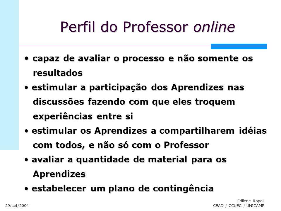 29/set/2004 Edilene Ropoli CEAD / CCUEC / UNICAMP Perfil do Professor online capaz de avaliar o processo e não somente os capaz de avaliar o processo