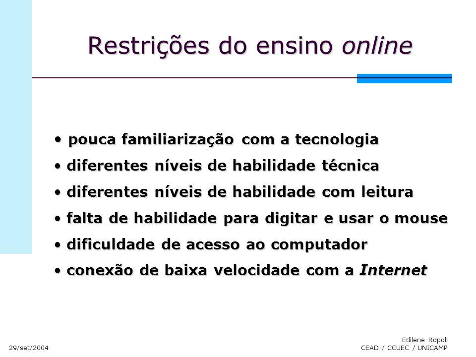 29/set/2004 Edilene Ropoli CEAD / CCUEC / UNICAMP Restrições do ensino online pouca familiarização com a tecnologia pouca familiarização com a tecnolo