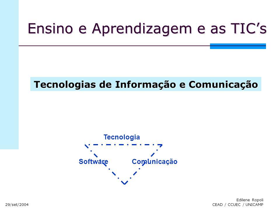 29/set/2004 Edilene Ropoli CEAD / CCUEC / UNICAMP Ensino e Aprendizagem e as TICs Tecnologia SoftwareComunicação Tecnologias de Informação e Comunicaç